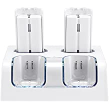 Prous - Cargador 4 en 1 para mando a distancia Wii, LU06 Wii con cuatro pilas recargables Wii e iluminación LED para Nintendo Wii (mando a distancia), color blanco