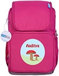 UniQBees Personalised School Bag With Name (Smart Kids Large School Backpack-Pink-Red Buttons)