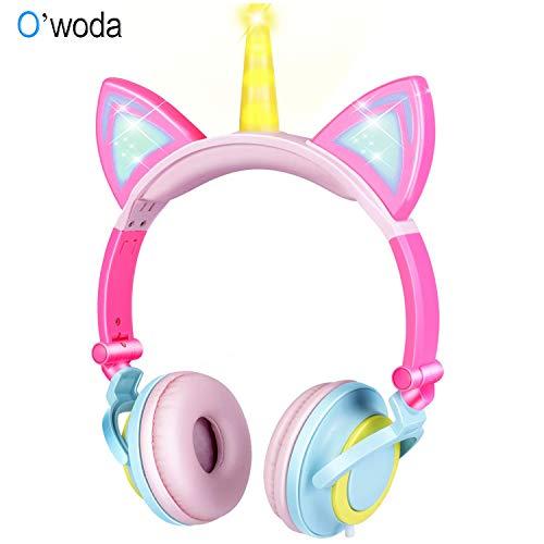 O'woda Casque Audio Enfant,Fille Écouteurs Licorne + Oreille Chat ,Bandeau Réglable,85 DB Volume ,Doux et Confortable Ecouteur Oreillettes pour Téléphone,iPad,Android,PC,MP3,PS4 (Bleu)