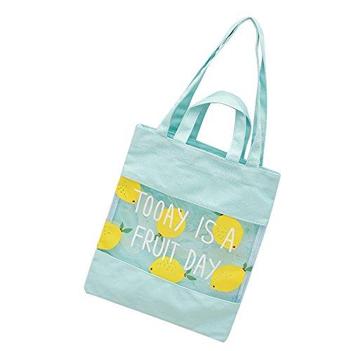 Wansan Mädchen Schultertasche Transparent Mosaik Fruit Muster Leinwand Einkaufstasche Schultasche, Canvas, Grün, 32*38*1cm