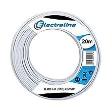 Electraline 10674 Piattina Divisibile 03VH-H, Sezione 2x0.75 mm, 20 mt, Bianco