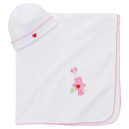 Elegant Baby 100% Cotton Interlock Receiving Blanket and Hat Gift Set, Lovebird