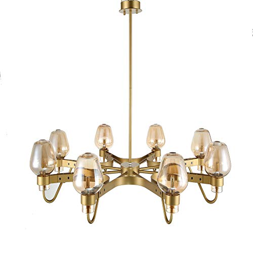 DIEJUE Moderner Goldener Kronleuchter Mit 8 Lichtern Metall Industrie Glas Pendelleuchte Nordic Indoor Deckenleuchte Wohnzimmer Esszimmer, Gold - Golden Bronze 8 Licht