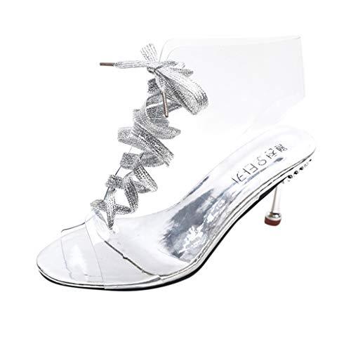 Sanahy Sandalen Damen Sommer, Mode hohlen Sandalen Fischkopf Sandaletten, romanische Frau Schuhe, Crystal Beads Transparent Fish Mouth Strap Stiletto High Heel Shoes