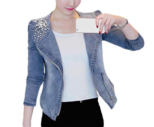 CuteRose Women's Crop Beaded Cardi Trim-Fit Washed Plus Size Jean Jacket Coat Grey M Sherpa Lined Denim