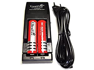 Chargeur Trustfire Tr-001 + 2 piles 18650 Protected rechargeables 3000mAh 3.7V UltraFire