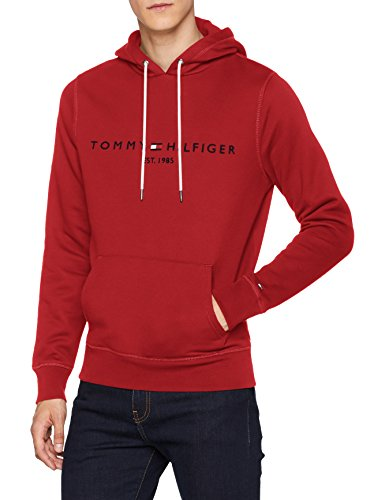 Tommy Hilfiger Herren Sweatshirt Tommy Logo Hoody, Rot (Haute Red 611), Medium