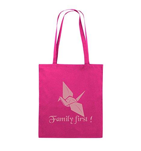 Comedy Bags - Family First Origani - PRISONBREAK - Jutebeutel - lange Henkel - 38x42cm - Farbe: Schwarz / Silber Pink / Rosa