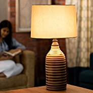 Ellementry Shades of Grey Terracotta Table Lamp, 17 x 17 x 46 cm, Grey
