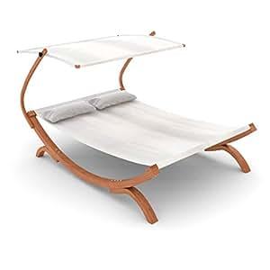 Ampel 24 bain de soleil chaise longue panama blanche for Chaise longue pour 2 personnes