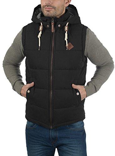 SOLID Dry Herren Weste Steppweste mit Kapuze aus hochwertiger Baumwollmischung Black