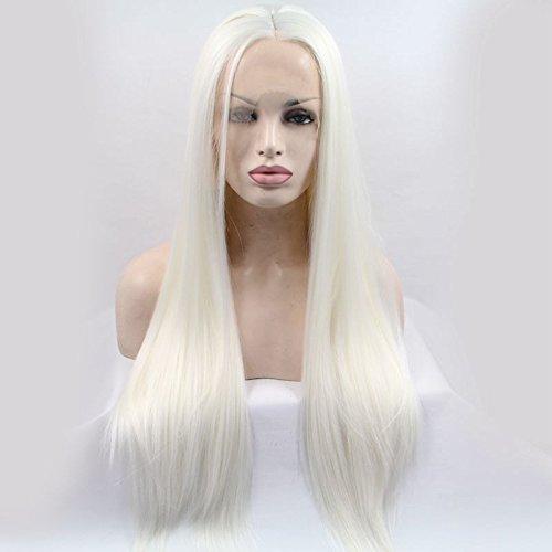 Natur 1001Farbe Pure weiß seidig glatt Kunsthaar-Perücken Spitze vorne Snow weiß gerade Hitzebeständige Kunstfaser Haar