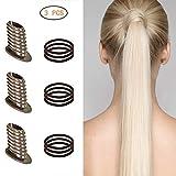 [3er Pack]Pferdeschwanzhalter Frisurenhilfe Zopfhilfe Und 9 Gummibänder für Haarstyling Fuelliger Pferdeschwanz Halter Maker Haar für Fräulein Damen Mädchen