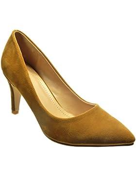 Angkorly - Scarpe da Moda scarpe decollete stiletto sexy donna Tacco Stiletto tacco alto 8 CM - Cammello