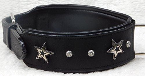 Star Leder Halsband Lederhalsband Breit Hunde Halsband Sterne u Nieten Schwarz Unterlegt Tyson M L Oder XL (M) -