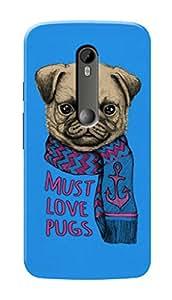 Motorola Moto X Style Black Hard Printed Case Cover by Hachi - Must Love Pugs Design