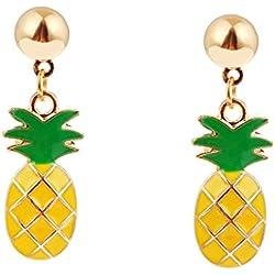 Pendientes de tuerca chapados en oro de 18 quilates, diseño de hoja verde fruta, piña, para mujeres y niñas, color amarillo