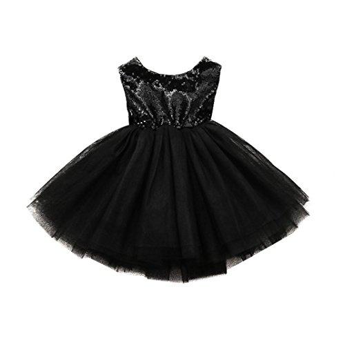 Baby Kleid Huhu833 Kleinkind Kinder Baby Mädchen Herz Pailletten Party Prinzessin Tutu Tüll Kleid Outfits (Schwarz, ()