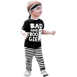 Happy Event Halloween neugeboren Niño Bebé Joven algodón Disfraz rayas Pantalones Ropa Ropa Sets | Halloween Toddler Infant Baby Boy Print Outfits Clothes Sets, Negro