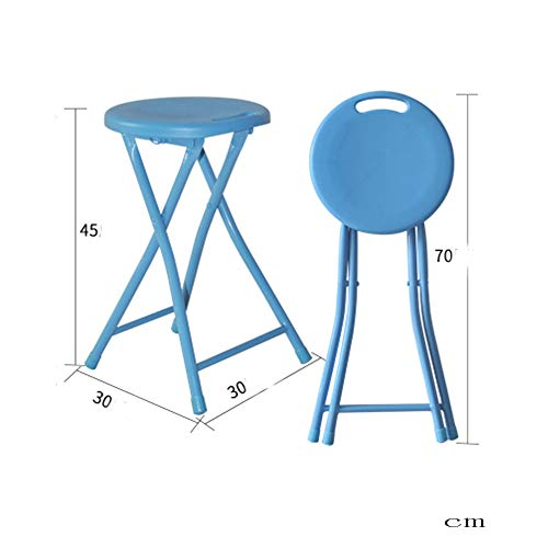 BAR STOOL Neue Hochbeinige Angeln Stuhl Schlafsaal Bad Runde Platte Kurzhocker Garten Erhöhung Esszimmer Klappstuhl (Color : Blue) -