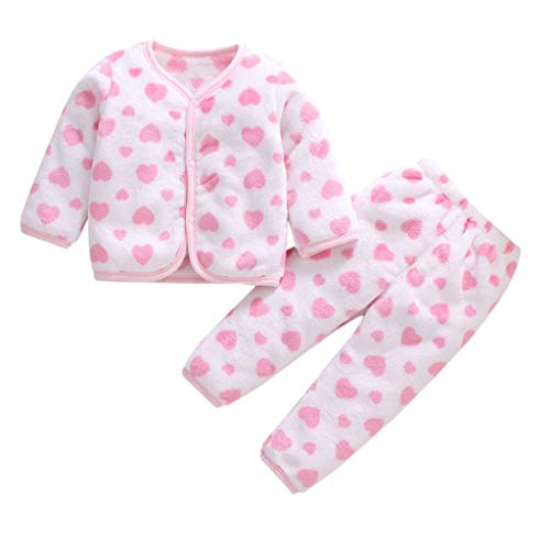 Livoral Baby Winter Even Jacke Neugeborenes Baby Boy Fleece warm verdicken Top Hosen Set Pyjamas Pyjamas Kleidung(F,1-2 Jahre)