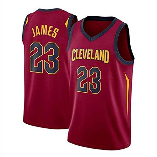 XHDH Jungen Mädchen Männer Erwachsene Cavs 23# James gesticktes Ineinander greifen Basketball Swingman Jersey Sleeveless Sport-Weste-Spitze - Männer Basketball-Trikots,Rot,XL(85kg~95kg) -