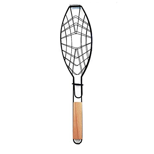 ParaCity Fish Grill Basket Nonstick BBQ Barbecue Fish Grilling Roast Basket with Wooden Handle(Fish Grill Basket)