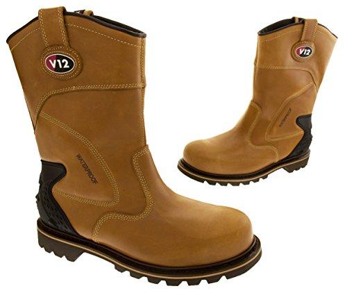 Homme V12Rigger Bottes Imperméable Bottes de travail en cuir taille 9101112Norme EN ISO 20345 Marron - marron
