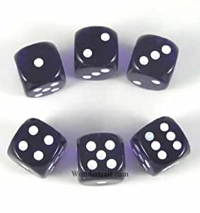 Purp Translucent with White Pips 16mm D6 Dice Set of 6 Wondertrail WCX23607E6 by Wondertrail