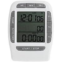 Runrain - Temporizador digital LCD multicanal de laboratorio, temporizador de 3 canales, 99 horas