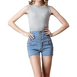 Pantalon Vaquero Corto De Mujer Pantalones Elasticos Azul Claro XL