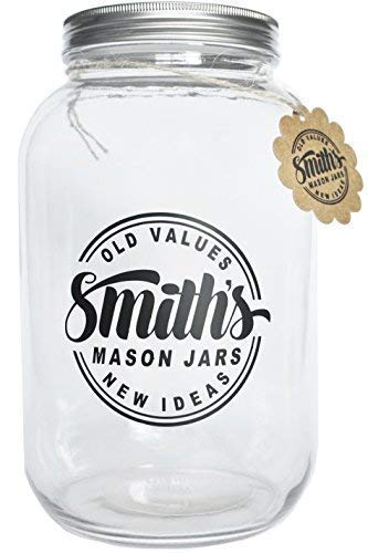 1 Gallon Glass Jar with Plastic and Metal Lids by Smith's Mason Jars - Ideal Cookie Jar or Biscuit also great to Brew Kombucha Tea food storing for pickle canning cookie decorative fermentation Jar-crock