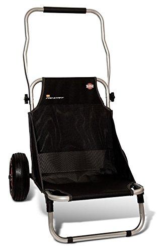 ZEBCO Pro Staff Beach Trolley, Transporthilfe, Sitz und Transportkarre in einem, rostfrei, klappbar, 100% Polyester, 45x69x104cm, 4,7kg