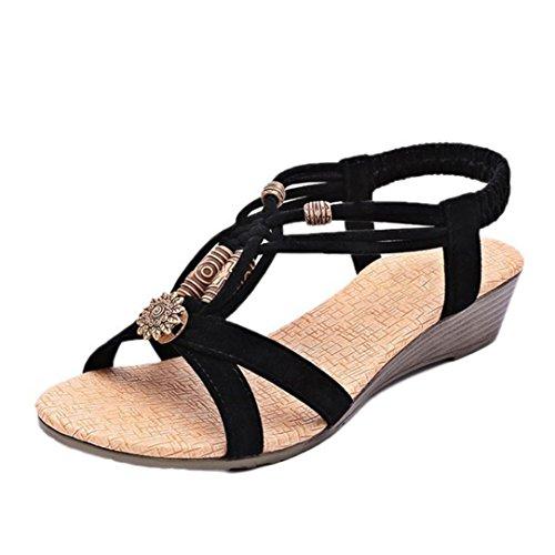 """Chaussures Femme Ete 2016 Sandales Femmes Talon Compensé SoiréE Casual Peep-Toe Femmes Plat Boucle Chaussures Sandales Roman (EU 38-Pied Longueur:9.4"""", Noir)"""