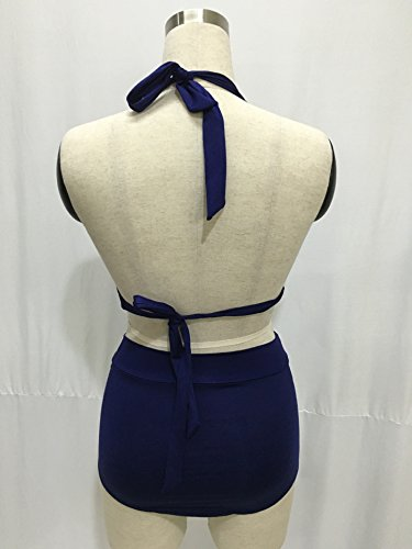 ZAMME Frauen 50er Jahre Art Blumen High Waisted Bikini Badeanzug für Frauen Tankini Bademode Blau