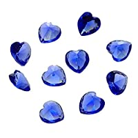 Souarts Blue Color Heart Shaped Birthstone Floating Charms for Glass Memory Pendants Pack of 50pcs