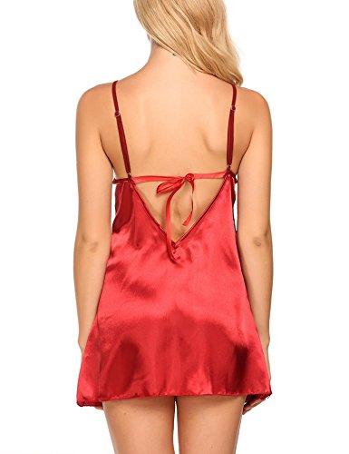 Avidlove Satin Nachtwäsche Damen Sexy Nachthemd Negligee Babydoll Nachtkleid Träger Kleid Dessous Sleepwear mit Spitze BH A Rot