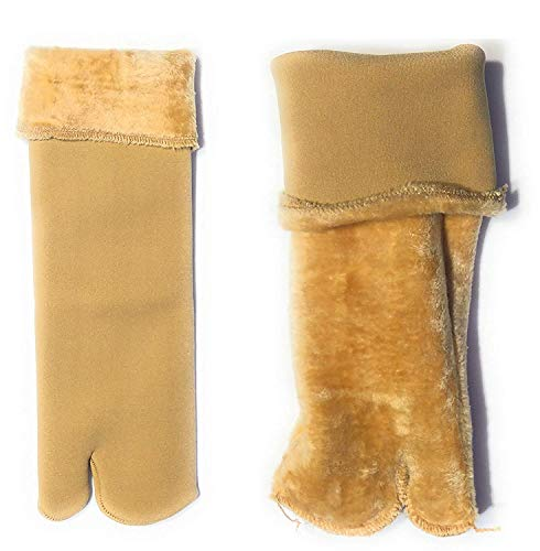 QUEERY Beige Winter Thick Warm Fleece Lined Thermal Velvet Socks With Thumb for Women -Pack of 1 Pair