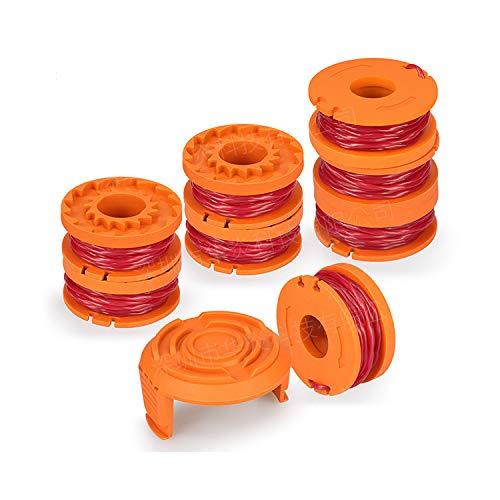 OKBY Trimmer Line - 10ft Rasentrimmer Edger, String Spool Linie Ersatz Fit für Worx WA0010,9 Pack (8 Pack Rasentrimmer Linie mit 1 Trimmer Cap).