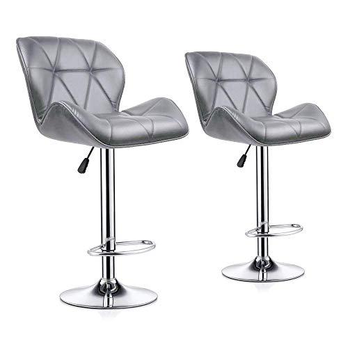 Barhocker 2er-Set, Küchen-Barhocker mit Rückenlehne und Fußstütze, drehbare Gaslift-Pub-Stühle mit entgegengesetzter Höhe, PU-Leder, Grau -