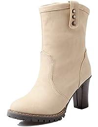 AgooLar Mujeres Gamuza(Imitado) Caña Alta Sólido Sin Cordones Mini Tacón Botas, Marrón, 39