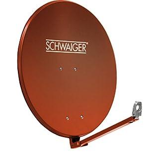 SCHWAIGER 265- Satellitenschüssel, Sat Antenne mit LNB Tragarm und Masthalterung, Sat-Schüssel aus Aluminium, Ziegelrot, 88 x 88 cm