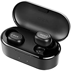 Auriculares Bluetooth con Micrófonos, HOMSCAM Impermeable Auriculares Inalámbricos Bluetooth 5.0 QCY HiFi Mini Twins Estéreo In-Ear Bluetooth con Caja de Carga Portátil para iPhone y Android