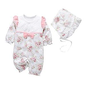 Rooper Mono Infantil Lindo bebé Niños niñas Mameluco de Encaje con Volantes y Estampado Floral Trajes de Mono + Sombrero… 3