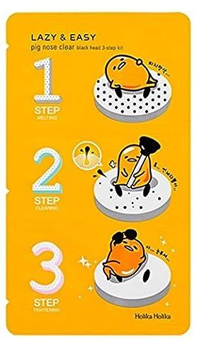 Holika Holika®–Lazy et facile–Nez de cochon clair–1x noir Tête en 3étapes kit (Gudetama Edition) pour homme et femme–Visage–Nettoyants et Exfoliators–Soin du visage