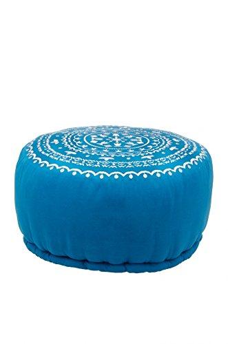 Orientalisches marokkanisches orient indisches rundes Sitzkissen Hocker Sitzhocker Pouf Sitzpouf bestickt jabran blau - 52cm