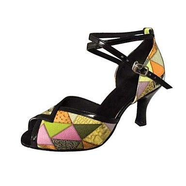 Chaussures De Danse-non-personnalisable-pour Les Femmes-danse Latino-américaine / Salsa-a Stiletto-faux Cuir-jaune Jaune