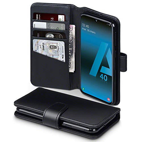TERRAPIN Custodia Samsung A40, Vera Pelle della Cassa del Raccoglitore con Funzione di Appoggio Posteriore per Samsung Galaxy A40 Cover Pelle, Colore: Nero