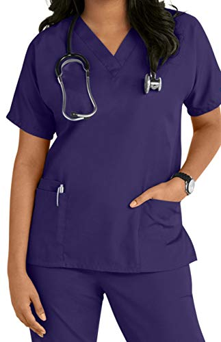 Uniform Scrub Top (Smart Uniform V 2610 Scrub top (M, Grape))