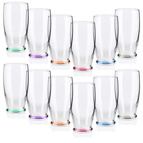 COM-FOUR® 12 Trinkgläser im stilvollen modernen Design, spülmaschinenfest (330 ml - 12 Stück) - Gläser Trink Wasser